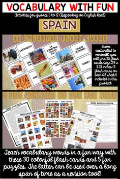 Introduce Spain related vocabulary words with FUN! This product includes 30 flash cards, a word search, a picture matching activity, 4 bingo cards, a crossword and a definition matching activity all about Spain.   ---They can be used at different times of the year to help your students retain vocabulary words longer.---