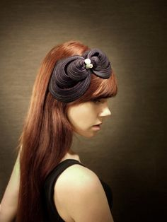 This lady makes some pretty amazing fascinators... Purple Felt Headband Fascinator - Made to Order. $60.00, via Etsy.