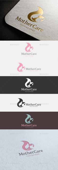 Texts are fully editable! 100 Editable & Re-sizable vectors! 4 Variations: Horizontal, Vertical, N Logo Design Template, Logo Templates, Nanny Care, Clinic Logo, Care Logo, Mother Care, Baby Shop, Decoration, Branding Design