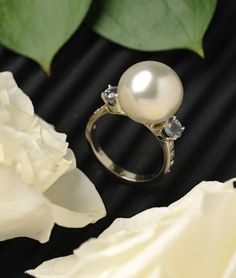 South Sea Pearl, Diamond And Sapphire Ring
