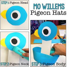 Literature pin 1 This activity could be used when doing a author study on Mo Willems. After reading some of Mo Willems books students would be able to make their own pigeon hats. Book Costumes, Teacher Costumes, Book Character Costumes, Costume Ideas, Book Characters Dress Up, Storybook Characters, Pigeon Craft, Pigeon Books, Book Character Day
