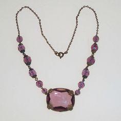 Czech Art Deco Necklace Purple Glass and Brass Vintage 1930s Jewelry