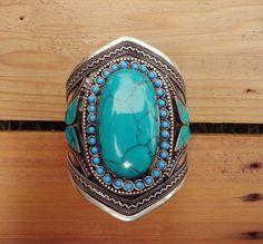 Turquoise bracelet -Cuff Bracelet. Boho turquoise bracelet. Afghan Cuff Bracelet. Tribal bracelet. Beduoin Cuff- Turquoise jewelry