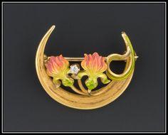 Antique 14k Gold & Enamel Honeymoon Crescent Moon Pin by Krementz