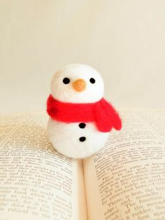 Needle Felted Snowman Wooly With Red Scarf by handmadebybrynne, $20.00