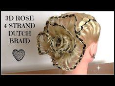 3D Ribbon Rose - 4 Strand Dutch Braid/ Hair Tutorial / HairGlamour - YouTube