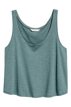 Short sleeveless top - Petrol marl - Ladies | H&M