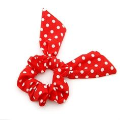 Red Dotted Bow Scrunchies
