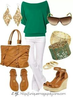 Green and white outfit