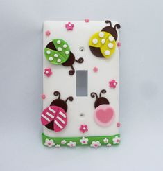 Ladybug - Light Switch  or Outlet cover - pink, green, yellow - children's light switch cover - Coordinates with Target Circo Ladybug