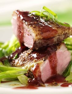 Crispy duck breast with plum star anise sauce