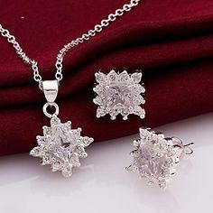 mode (conception de fleur) argenté (y compris collier&boucle d'oreille) ensemble incrusté de zircon de bijoux (1 jeux) – EUR € 10.11