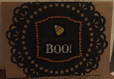 Halloween card - orange bling, Boo, candy corn, black Dollie on Kraft paper card