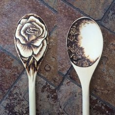 Beautiful Rose Pyrography Spoon by TheseOldWoods on Etsy…
