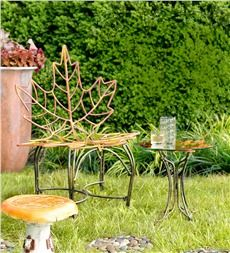 Maple Leaf Metal Chair and Table Set