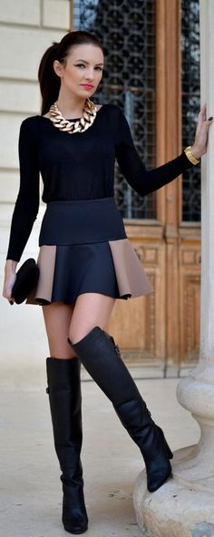 black blouse,mini skirt, long boots and black purse