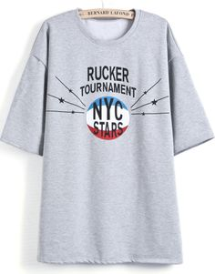 Grey Short Sleeve Letters Print Loose T-Shirt US$26.07