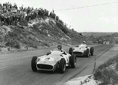 Juan Manuel Fangio and Stirling Moss, #Mercedes, 1955 Dutch Grand Prix. #Formula1 #F1 #Legends