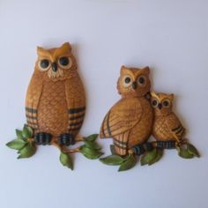Vintage 70s OWL FAMILY Wall Hangings by nickandnessies on Etsy, $24.00