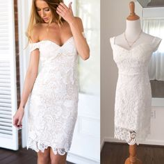 White lace off the shoulder dress Beautiful lace dress with zippered back. Never worn. Ideal for a size 6/8. No tags inside. Dresses Midi