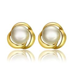 Fashion Earrings Women Sweet Flower Gold Plated Rose Gold Plated Platinum Plated Alloy Plastic Beads
