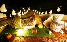 Garden Design, House Design, Cozy Place, Glamping, Rooftop, Outdoor Gardens, Balcony, Table Lamp, Interior