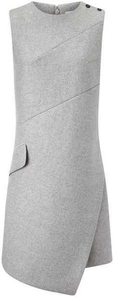 Carven Gray Wool Sleeveless Dress Transfer by jadwigaspg Fashion Details, Fashion Design, Fashion Trends, Kleidung Design, Carven, I Dress, Wool Dress, Dressmaking, Designer Dresses