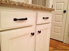 white kitchen cabinets with rub through - Google Search & Before shot\