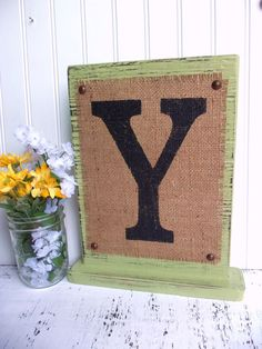 Burlap sign MONOGRAM Self Standing Custom by SophiasSignBoutique, $30.00