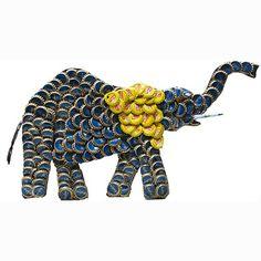 Refurbished Handmade Recycled Bottle Cap 12-inch Elephant Wall Plaque (Kenya)