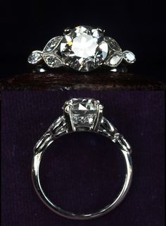 1920s Art Deco 1.90ct Old European Cut Diamond (GIA: I/SI2) RingPlatinum, Old Marquise Single Cut Diamond Sides Probably one of the loveliest (and definitely one of the most valuable) rings weve ever had. The center diamond is nearly 2 carats and beautifully cut. This style of mount was popular in the 1930s, and weve had several of similar design before. But usually there are round cut diamonds set within each of the little leaf shapes, rather than actua
