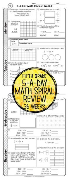 36 weeks of daily Common Core math review for fifth grade! Preview and Review important 5th grade math concepts all year long! Perfect for homework, morning work, or test prep! 5-A-Day: 5 tasks a day, M-Th. CCSS M.5 Available for 3rd - 6th grades! $ Teaching 5th Grade, Fifth Grade Math, 5th Grade Classroom, Teaching Math, Third Grade, Spiral Math, Math Tutor, Math Math, Math Education