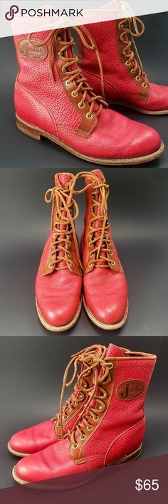 Leather Boots, Red Leather, Plus Fashion, Fashion Tips, Fashion Design, Fashion Trends, Justin Boots, Boot Brands, Oxford Shoes