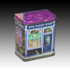 "Bentley's Of London Small House Shaped Tin ""The Candy Shop"" Litho Container"