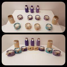 Chalk paint Jars GU pots Milk Bottles Upcycling Candle holders Flower bases Decoration Homemade DIY
