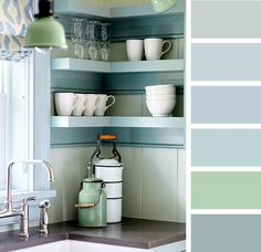 Watery color palette of blues and greens in a cottage kichen by designer James Davie. | Photographer: Donna Griffith