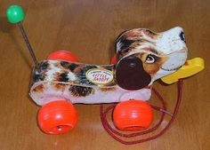Pull toy--I loved my little doggie like this that I had when I was little--except mine didn't have his tail or the shoe thing in its mouth--they both fell out off from playing with him too much!