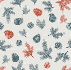 Pine cones pattern. Christmas gift wrapping. Vector illustration royalty-free…