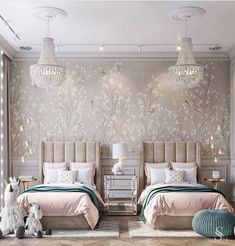 Inspirational ideas about Interior Interior Design and Home Decorating Style for Living Room Bedroom Kitchen and the entire home. Curated selection of home decor products. Decor Interior Design, Room Interior, Design Interiors, Luxury Interior, Interior Decorating, Twin Girl Bedrooms, Twin Bedroom Ideas, Girl Bedroom Designs, Childrens Room Decor