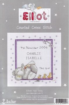 Elliot Just Cross Stitch, Cross Stitch Baby, Cross Stitch Charts, Cross Stitch Patterns, Baby Embroidery, Cross Stitch Embroidery, Elephant Cross Stitch, Pattern Pictures, Knitted Baby Blankets
