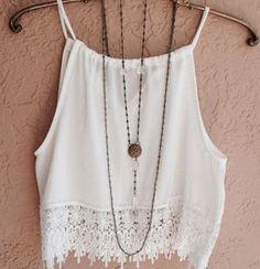 Lace Strap White Chiffon Vest at Romwe - Trendslove
