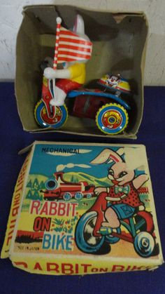 Vintage Mechanical Rabbit On Bike Tin Toy by tennesseehills, $20.00