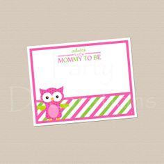 INSTANT DOWNLOAD Owl Baby Shower Advice Card - Girl - Owls - Pink & Green - Digital File