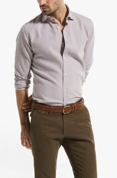 SLIM-FIT STRUCTURED DYED SHIRT