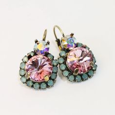 Mint Pink Earrings Green Opal Rose AB Crystal Drop by TIMATIBO