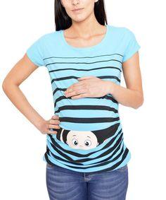 Turquoise Stripe Peekaboo Maternity Tee - Women #zulily #zulilyfinds