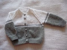 Grey and white baby cardigan no pattern just a suggestion for changing colours, . : Grey and white baby cardigan no pattern just a suggestion for changing colours, Baby Cardigan Knitting Pattern Free, Baby Boy Knitting Patterns, Baby Sweater Patterns, Crochet Baby Cardigan, Knit Baby Sweaters, Knitted Baby Clothes, Knitting Designs, Booties Crochet, Boys Sweaters