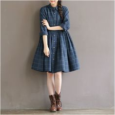2016 spring autumn Korean slim plus size women's clothing casual Plaid long sleeve cotton Tops shirt dress Vestido Robe Blusas *** Click on the image for additional details.