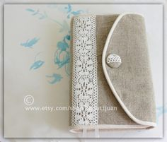 Bible cover, Journal Cover in linen with white lace ,crochet,linen,cotton, custom made by BibleandLace on Etsy