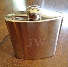 Monogram Polished Pocket Flask with Funnel Personalized Engraved Gifts for Men Under 20. $17.95, via Etsy.